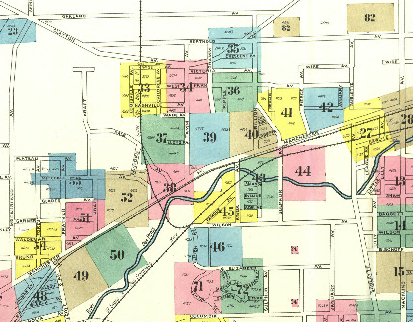 Dogtown -- Map of Dogtown in 1903 -- Sanborn Fire Maps on