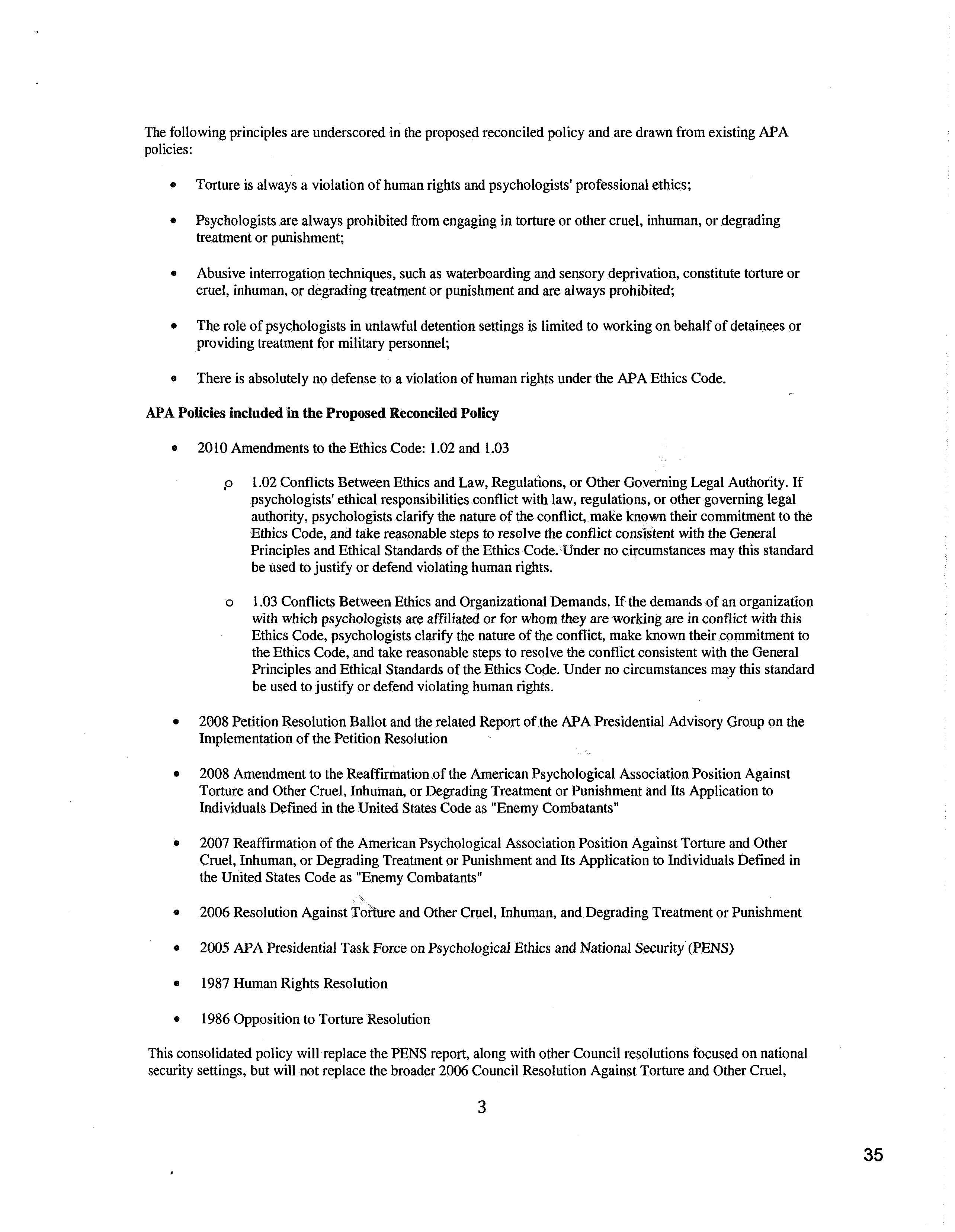 cor agenda action item 3 page 15 jpg policy related to psychologists work in national security settings and reaffirmation of the apa position against torture and other cruel inhuman